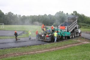 HMA Paving and Contracting employees working on an asphalt paving project in Orange County, NY